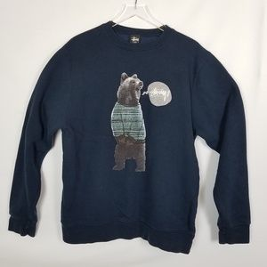 STUSSY SWEATSHIRT W BEAR GRAPHIC